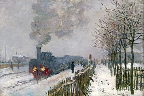 Locomotiva su neve di Claude Monet